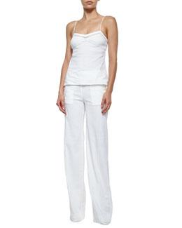 Kruelle Embroidered-Trim Silk Top & Alrigo High-Waisted Linen Pants