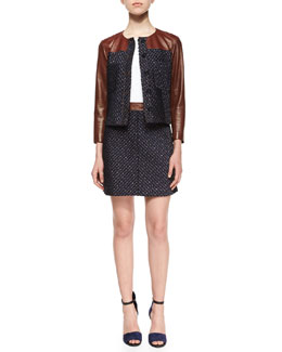 Tieron Leather-Sleeve Tweed Jacket, Bliki Classic Long-Sleeve Tee & Lanitta Heighten Skirt