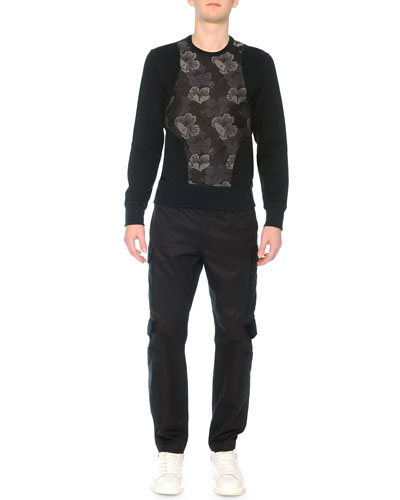Poppy-Brocade Harness Sweatshirt & Cargo Pants with Velvet Flaps