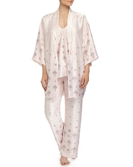 Jeweled Lace-Printed Satin Robe & Pajamas, Pink