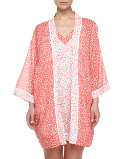 Mosaic Petal-Print Cotton Short Robe & Nightgown, Orange