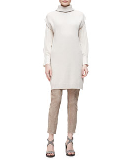 Cashmere-Blend Turtleneck Tunic, V-Neck Crepe-Sleeve Combo Top & Suede Zip-Cuff Leggings
