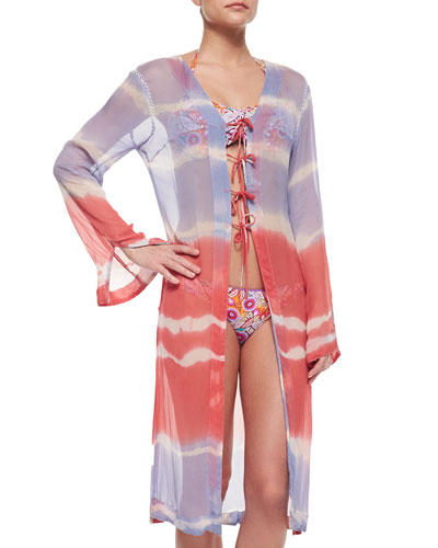 Sangria Waves Tie-Dye Coverup & Bikini Separates