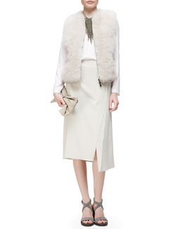 Fur & Cashmere Zip-Front Vest, V-Neck Long-Sleeve Georgette Top & Asymmetric Side-Slit Midi Skirt