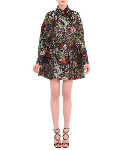 Camu Garden-Print Brocade Cape, Garden-Print Georgette Blouse, & Garden-Print Brocade Mini Skirt