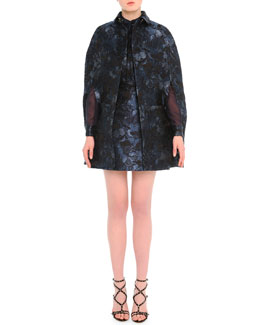 Camu Butterfly-Print Brocade Cape & Combo Dress