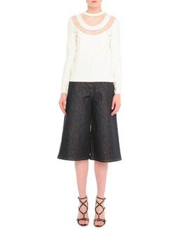 Lace-Inset Knit Sweater & Stretch Denim Culotte Pants