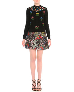 Aran Bouquet-Embroidered Cable-Knit Sweater & Garden-Print Brocade Mini Skirt