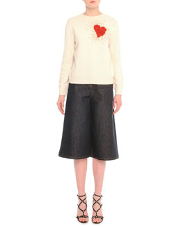 Cashmere Exploded Heart-Embroidered Sweater & Stretch Denim Culotte Pants