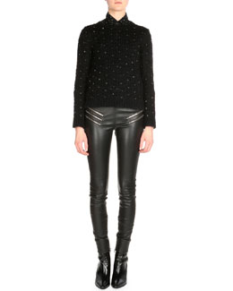 Star-Print Snap Down Shirt, Leather Zip-Pocket Leggings & Crystal Embellished Sweater