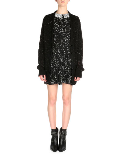 Crystal-Embellished Oversized Cardigan & Star-Print Pleated Shift Dress