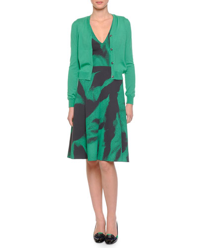 Cashmere-Blend V-Neck Snap Cardigan & V-Neck Abstract-Print Fit-And-Flare Dress