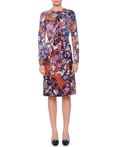 Strobic-Print Button Cardigan & Strobic-Print Belted Dress