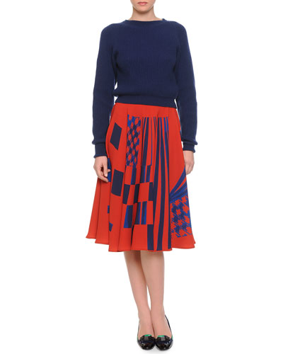 Boat-Neck Chunky Knit Sweater & Mixed-Print Full Midi Skirt