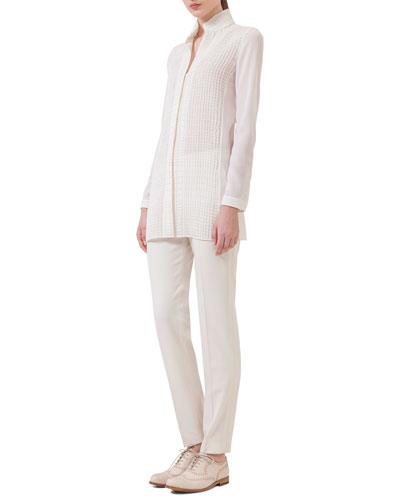 Cross-Stitched Long-Sleeve Tunic & Melissa Gabardine Slim Pants