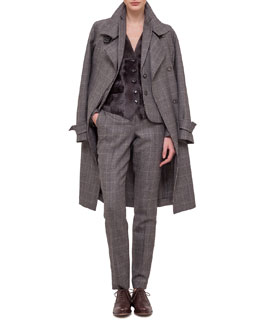Fine Windowpane Check Cashmere-Blend Trenchcoat, Blazer & Pants with Lamb Fur Paneled Vest