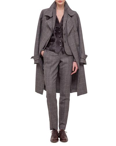 Fine Windowpane Check Cashmere-Blend Trenchcoat, Blazer & Pants with Lamb Fur Paneled Vest