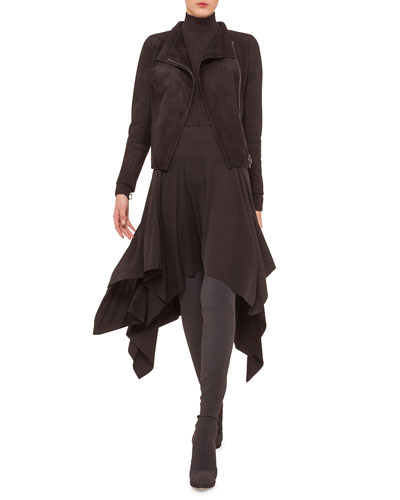 Suede Asymmetric Moto Jacket, Cashmere-Blend Zigzag Ribbed Pullover & Ruffled A-Line Handkerchief Skirt