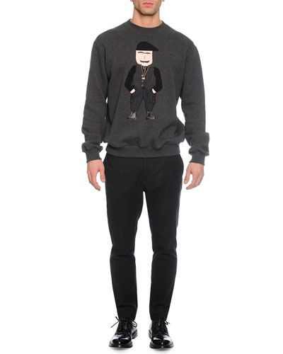 Old Man Applique Crewneck Sweatshirt & Tonal Herringbone Woven Trousers