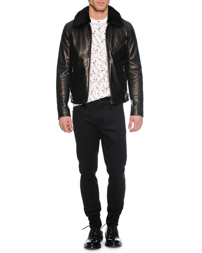 Leather Jacket with Shearling Collar, Small Floral-Print Henley Tee & Woven Jogger Trouser Pants