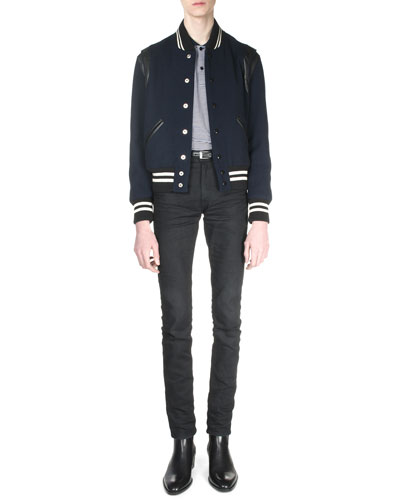Classic Teddy Jacket with Leather Detail, Striped Pique Polo Shirt & Clean-Wash Denim Jeans