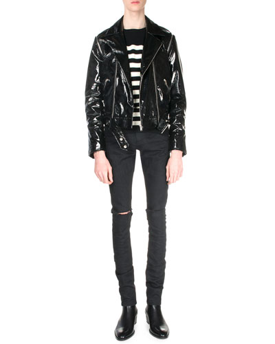 Asymmetrical-Front PVC Bomber Jacket, Striped Cashmere Sweater & Split-Knee Destroyed Denim Jeans