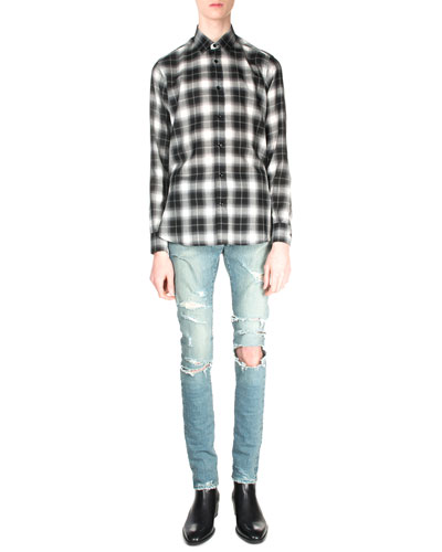Plaid Flannel Long-Sleeve Shirt & Trashed Ripped-Knee Denim Jeans