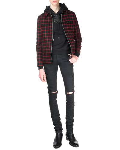 Check Zip-Up Trapper Jacket, Hooded Sweatshirt with Leather Detail & Split-Knee Destroyed Denim Jeans