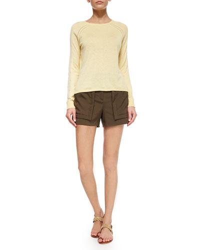 Long-Sleeve Sweater with Chiffon Insert