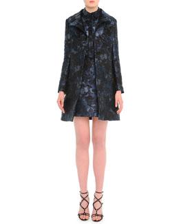 Camu Butterfly-Print Brocade Jacket & Combo Dress