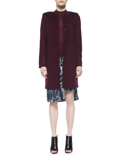 Collarless Wool Coat W/ Raised Seams, Mock-Neck Half-Sleeve Sweater & Feather-Print Skirt W/ Tiered Hem