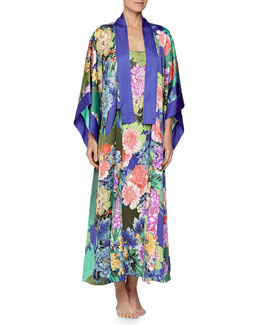 Tahiti Floral-Print Long Wrap Robe & Long Satin Gown