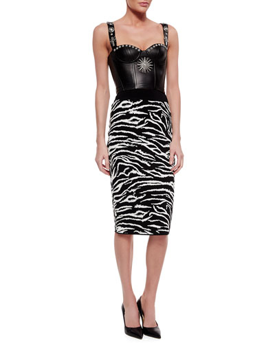 Studded Leather Bustier Crop Top & Zebra-Striped Knit Skirt