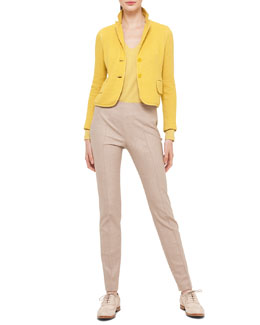 Cashmere-Blend Pique Two-Button Jacket, Cashmere-Blend V-Neck Top & Melissa Stretch Flannel Pleated Slim Pants