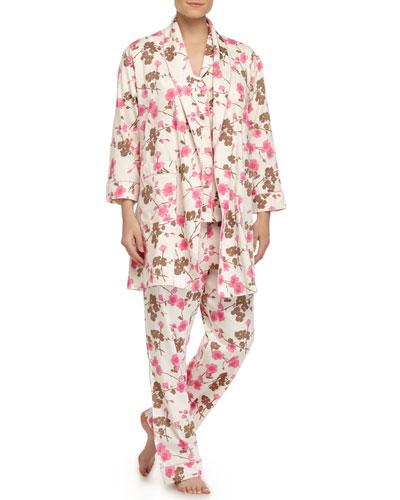 Cherry Blossom-Print Short Robe & Pajamas