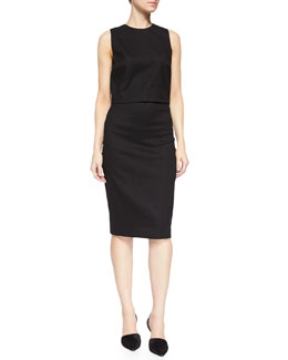 Jay Sleeveless Ramie-Blend Box Top & Fincher Ramie Pencil Skirt