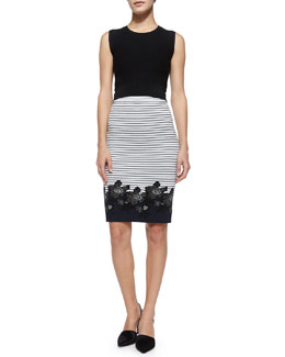 Crewneck Sleeveless Crop Top & Brennan Striped Floral Pencil Skirt