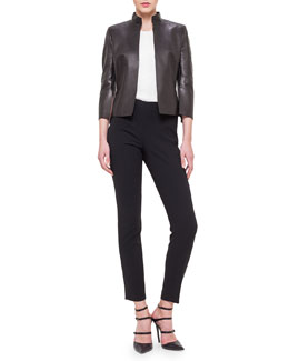 Abstract Applique Back Leather Jacket, Sleeveless Rose Jacquard Top & Melissa Slim-Fit Techno Pants