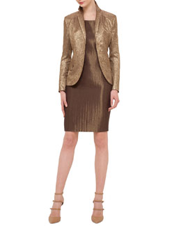 Shattered Metallic Jacquard Jacket & Metallic Woven Sheath Dress