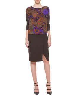 Enchanted Floral-Print Cashmere-Blend Top & Double-Faced High-Waisted Slit Pencil Skirt