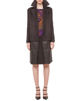 Cashmere Coat w/ Detachable Leather Panel, Orchid Patterned Mesh V-Neck Sweater & Double-Faced High-Waisted Slit Pencil Skirt