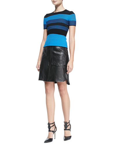Short-Sleeve Bicolor Mesh Top & Faux Leather Double-Layer Cargo Skirt