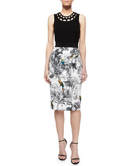 Sleeveless Neck-Cutout Tank & Tropical-Print Midi Skirt