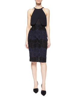 Iggy Sleeveless Layered Silk Top & Davin Embroidered Pencil Skirt