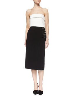 Camilla Strapless Top & Clint Buckled-Side Pencil Skirt