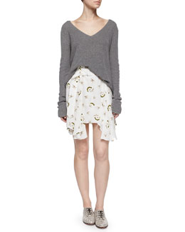 Ty Long-Sleeve V-Back Sweater & Daro Floral-Print Skirt