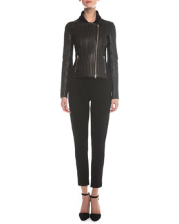 Leather Bonded Ribbed Jacket & Jersey Zip-Cuff Ankle Pants