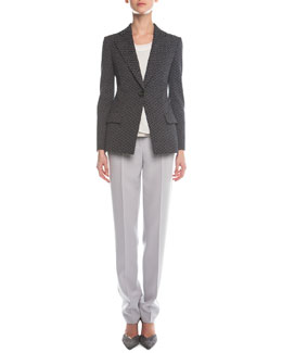 Abstract Jacquard Single-Button Blazer, Sleeveless Layered Combo Blouse & Slim-Fit Crepe Pants
