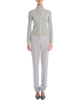 Piped Asymmetric Zip-Front Jacket & Slim-Fit Crepe Pants