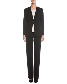 Double-Faced Toggle Blazer, Sleeveless Layered Combo Blouse & Boot-Cut Double-Faced Pants